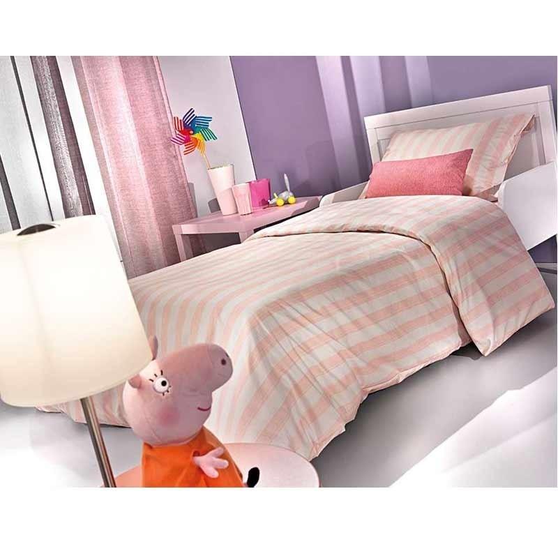 Σετ Σεντόνια Παιδικά Μονά Saint Clair Paris Pink Stripes 1710030216001