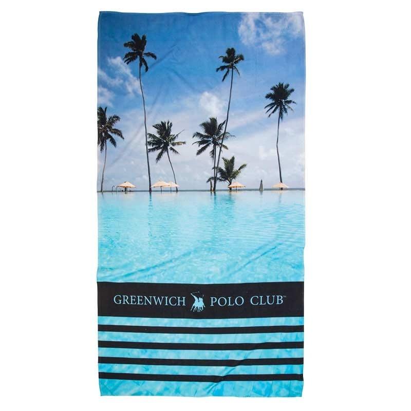 Πετσέτα Θαλάσσης (80x160) Greenwich Polo Club Code 2861 ΜΠΛΕ-ΤΥΡΚΟΥΑΖ-ΜΑΥΡΟ