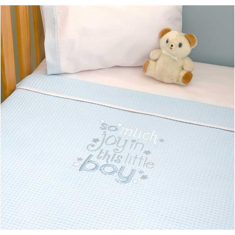 Κουβέρτα Αγκαλιάς Πικέ Baby Oliver Little Blue Joy Design 303