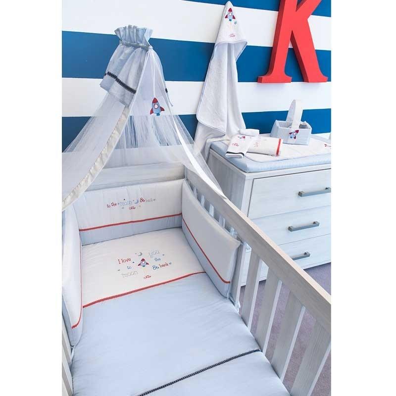 Κουβέρτα Κούνιας Coral Fleece Baby Oliver To The Moon And Back Design 306