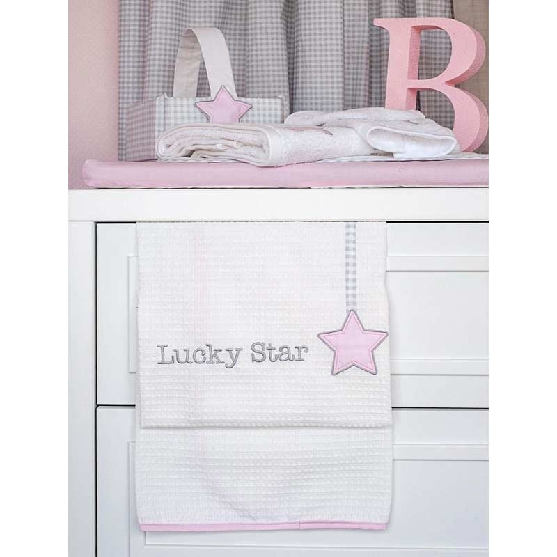 Κουβέρτα Κούνιας Πικέ Baby Oliver Lucky Star Pink Design 308 46-6720/308