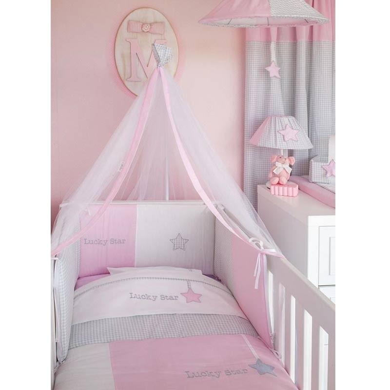 Σεντόνια Λίκνου Καλαθούνας Βρεφικά Baby Oliver Lucky Star Pink Design 308 46-6704/308