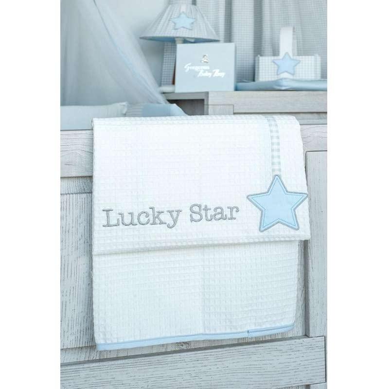 Κουβέρτα Κούνιας Πικέ Baby Oliver Lucky Star Blue Design 309 46-6720/309