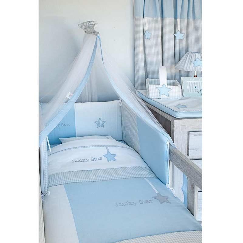 Σεντόνια Λίκνου Καλαθούνας Βρεφικά Baby Oliver Lucky Star Blue Design 309 6704/309