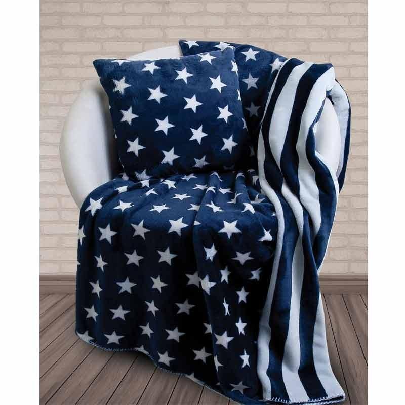 Κουβέρτα Fleece Αγκαλιάς Και Μαξιλάρι Das Home Blanket Line Fleece Printed Sofa 323