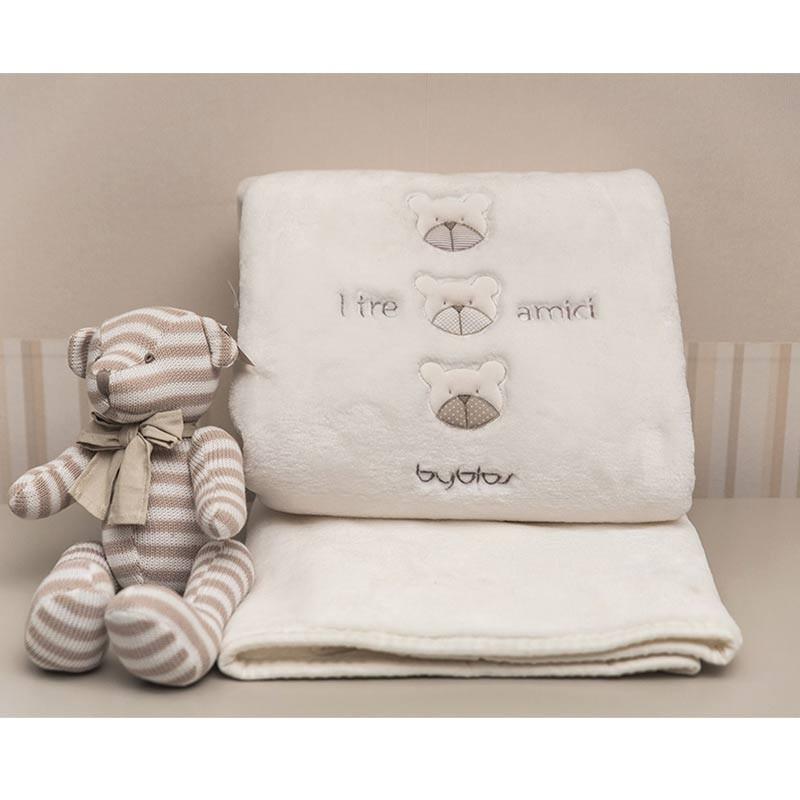 Βρεφική Κουβέρτα Κούνιας Velour Byblos Design 81 Amici Beige