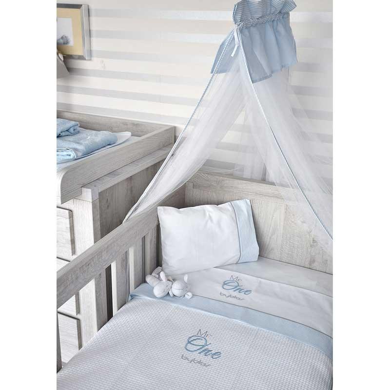 Βρεφική Κουβέρτα Κούνιας Πικέ Byblos Design 82 Mr One Blue
