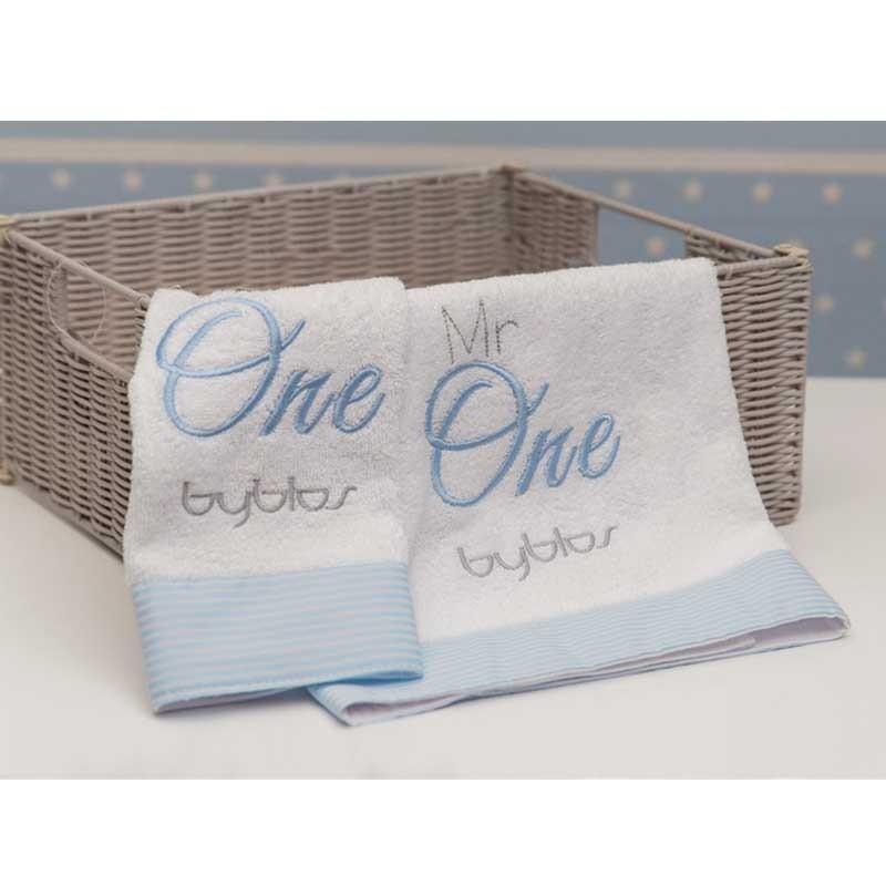 Σετ πετσέτες βρεφικές 2τμχ Byblos Design 82 Mr One Blue (White)