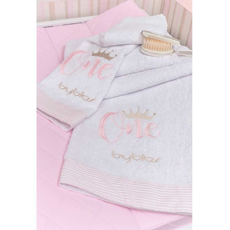 Σετ πετσέτες βρεφικές 2τμχ Byblos Design 83 One Pink (White)