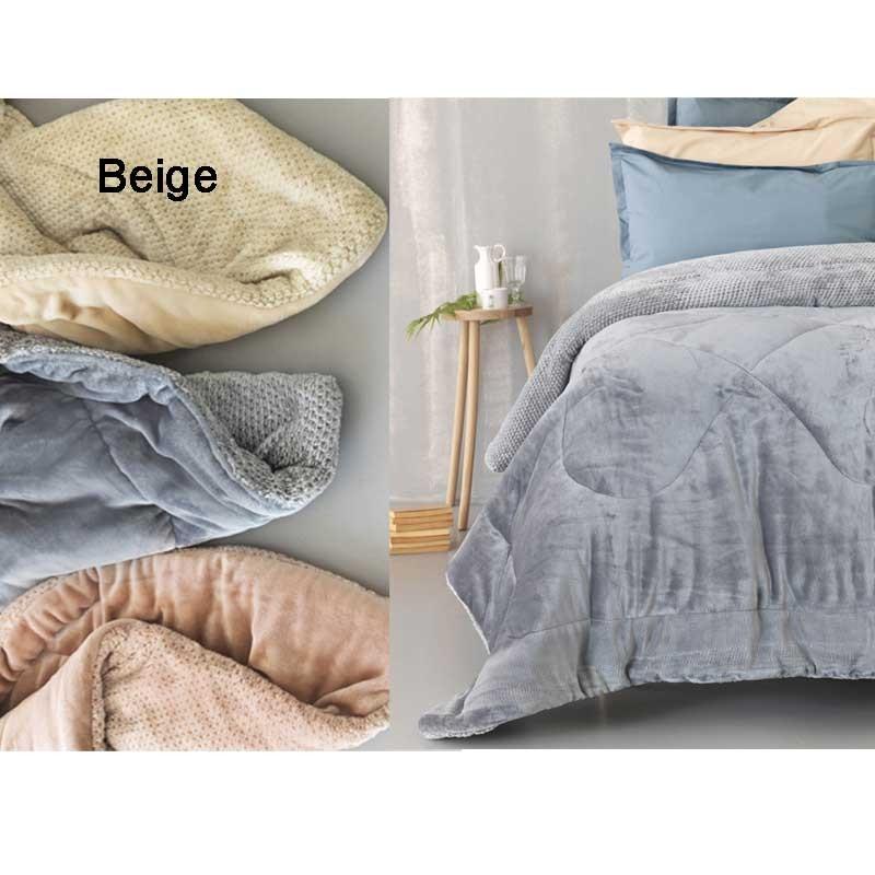 Κουβερτοπάπλωμα Υπέρδιπλο Palamaiki Flannel Fleece Collection Malena Beige