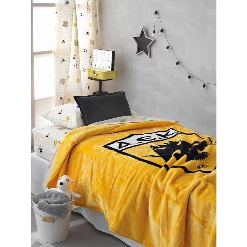 Κουβέρτα Βελουτέ Μονή Palamaiki Official Licensed AEK Velour