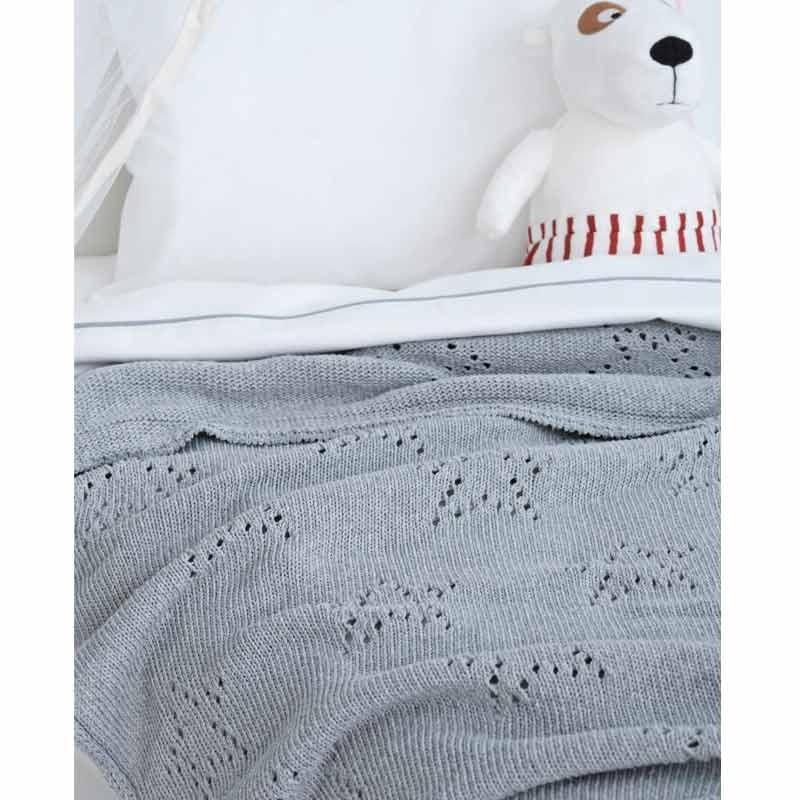 Κουβέρτα Κούνιας Πλεκτή Palamaiki Knitted Collection Astro Grey