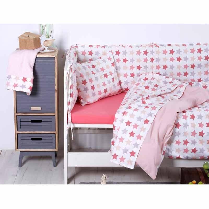 Σετ Παπλωματοθήκη Βρεφική Sb Home Baby Stars Pink 05.00123