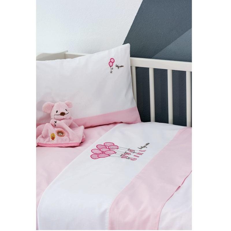 Σετ σεντόνια κούνιας βρεφικά Makis Tselios home Baloons Pink