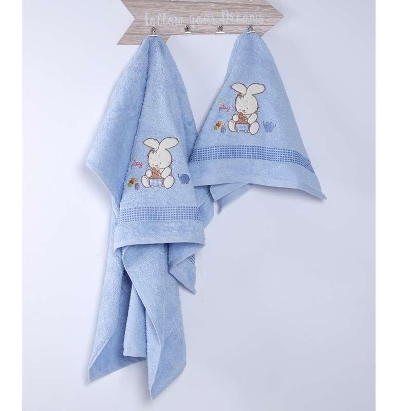 Σετ Πετσέτες Βρεφικές Sb Home Bunny Blue 05.00093
