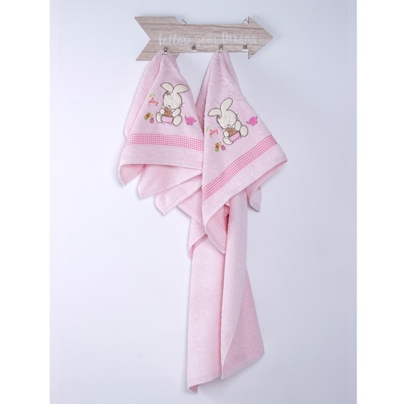 Σετ Πετσέτες Βρεφικές Sb Home Bunny Pink 05.00092