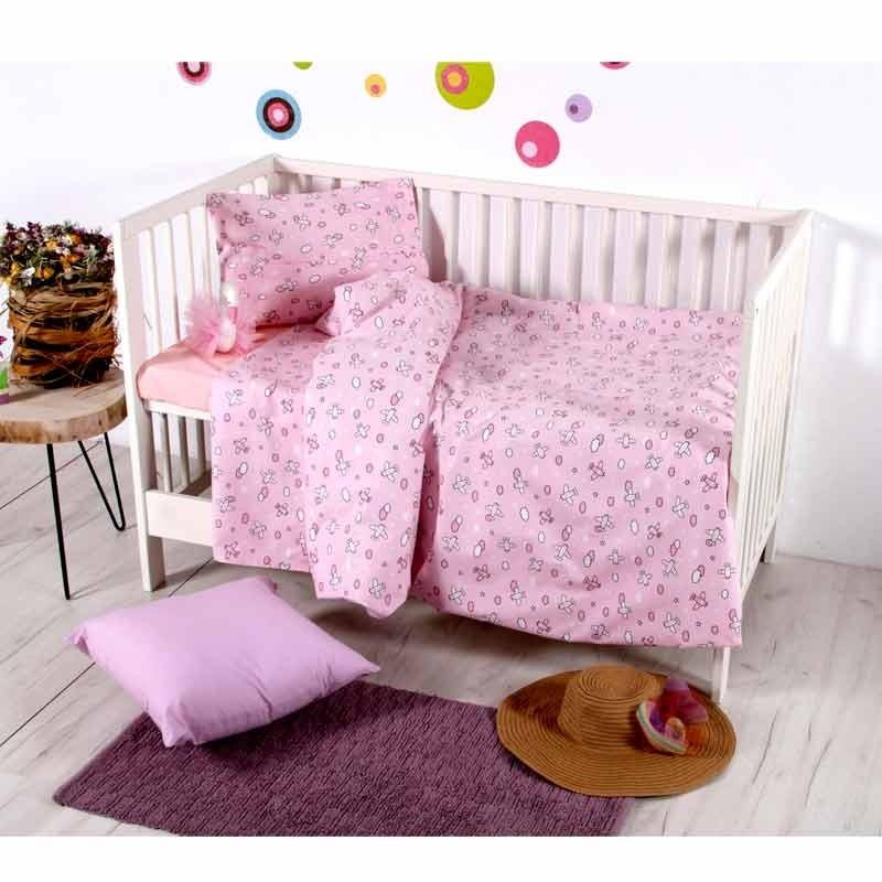 Σετ Σεντόνια Κούνιας Βρεφικά Sb Home Camy Pink 05.00140