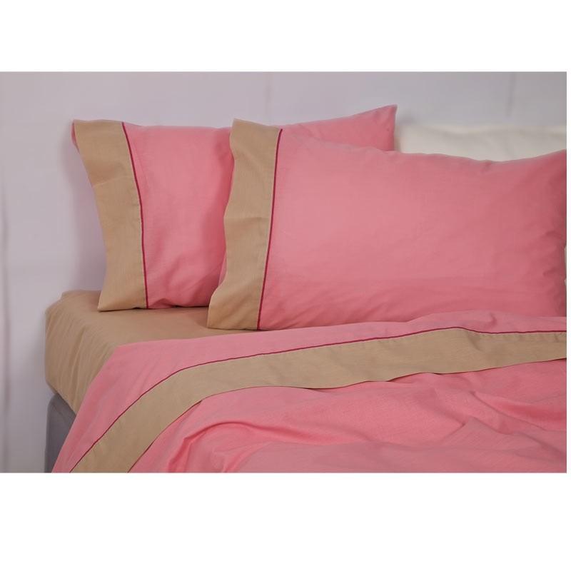Σετ Κουβερλί Ημίδιπλο Palamaiki Colour Blocking Pink Camel