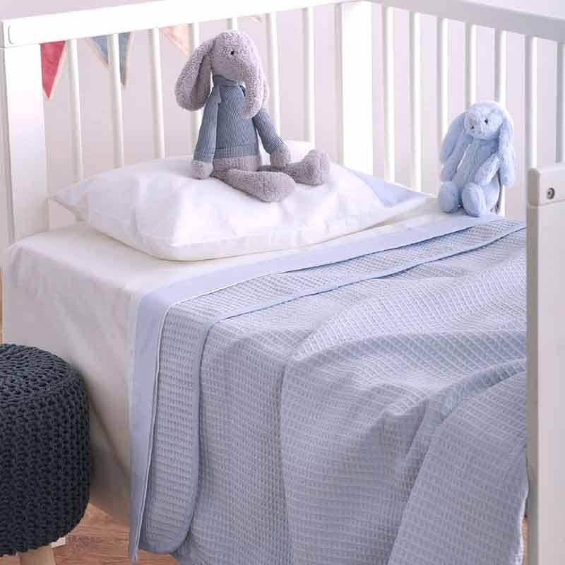 Κουβέρτα Κούνιας Πικέ Βρεφική Sb Home Cialda Blue 05.00258
