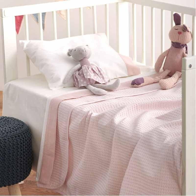 Κουβέρτα Κούνιας Πικέ Βρεφική Sb Home Cialda Pink 05.00259