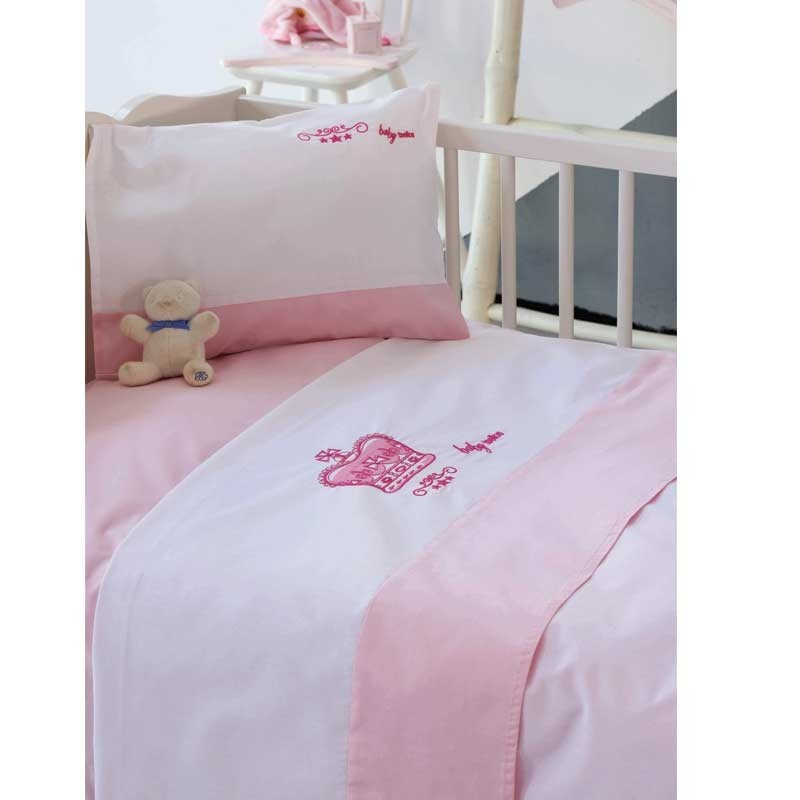 Σετ Σεντόνια Κούνιας Βρεφικά Makis Tselios home Crown Pink 113000123456