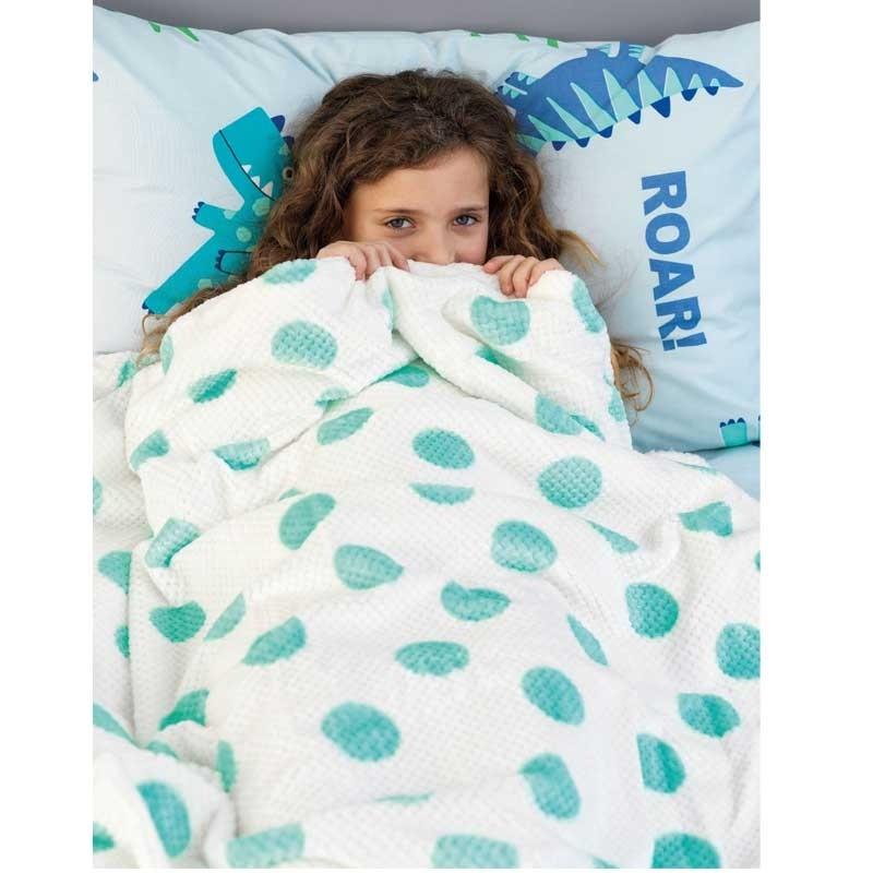 Κουβέρτα Ημίδιπλη Παιδική Flannel Sherpa Palamaiki Dots Mint