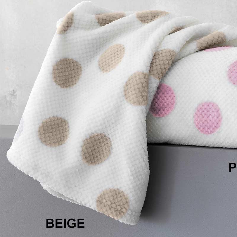 Κουβέρτα Κούνιας Flannel Sherpa Palamaiki New baby Collection Dots Beige