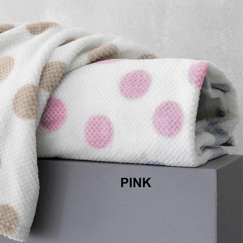 Κουβέρτα Κούνιας Flannel Sherpa Palamaiki New baby Collection Dots Pink