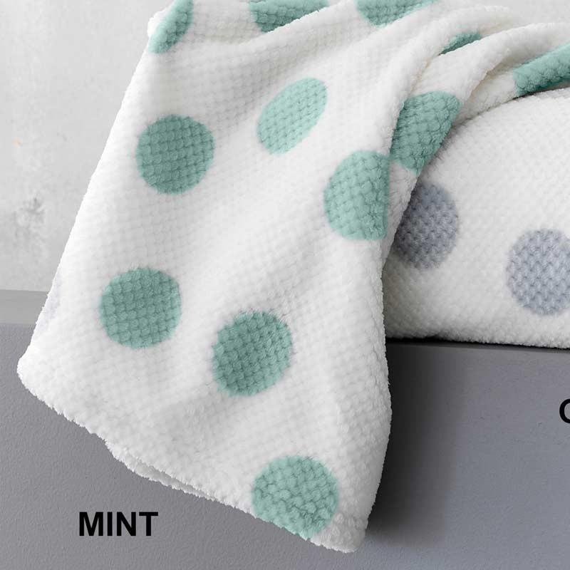 Κουβέρτα Κούνιας Flannel Sherpa Palamaiki New baby Collection Dots Mint