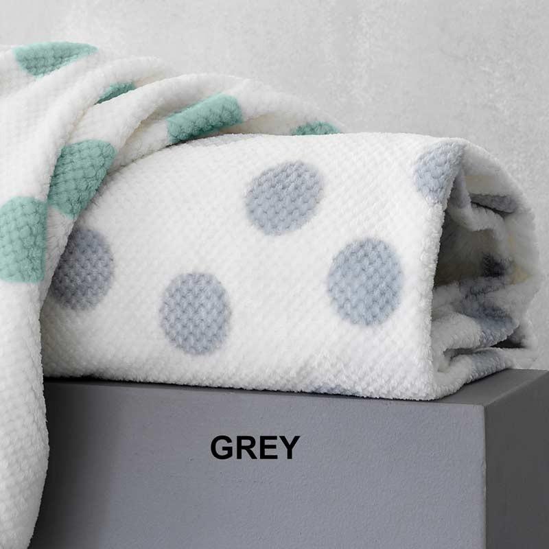 Κουβέρτα Ημίδιπλη Παιδική Flannel Sherpa Palamaiki Dots Grey