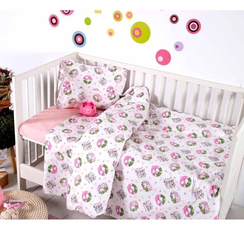 Σετ Σεντόνια Κούνιας Βρεφικά Sb Home Elvin Pink 05.00132