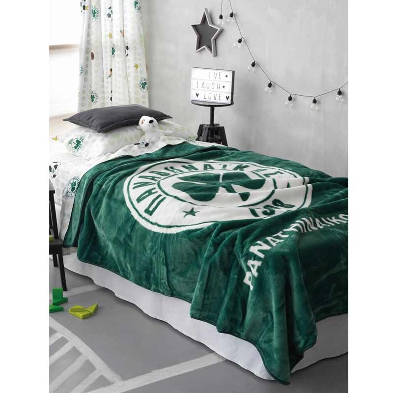 Κουβέρτα Βελουτέ Μονή Palamaiki Official Licensed Panathinaikos FC1908 Velour