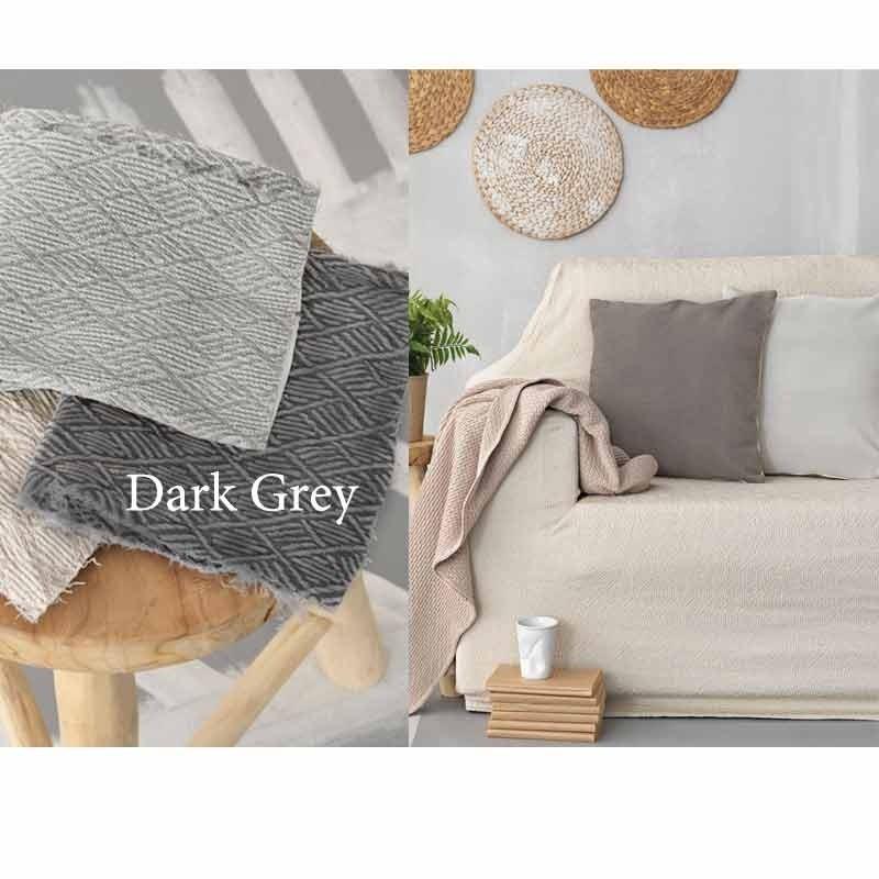 Κάλυμμα Ελαστικό Διθέσιο Palamaiki Throws Flexi Collection FT1513 Dark Grey