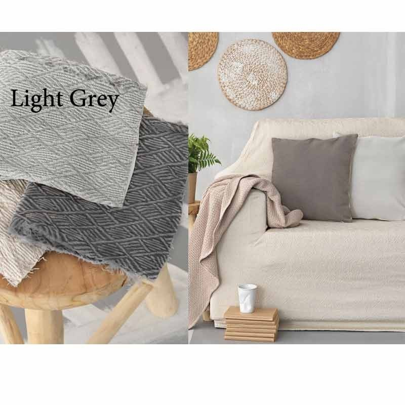 Κάλυμμα Ελαστικό Διθέσιο Palamaiki Throws Flexi Collection FT1513 Light Grey