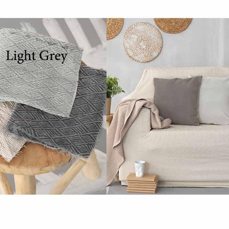 Κάλυμμα Ελαστικό Τριθέσιο Palamaiki Throws Flexi Collection FT1513 Light Grey