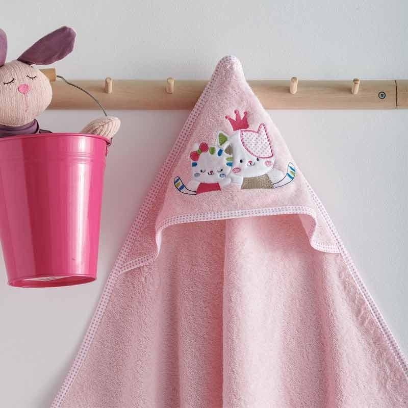 Κάπα Μπουρνουζάκι Βρεφικό Sb Home Gattino Pink 05.00230