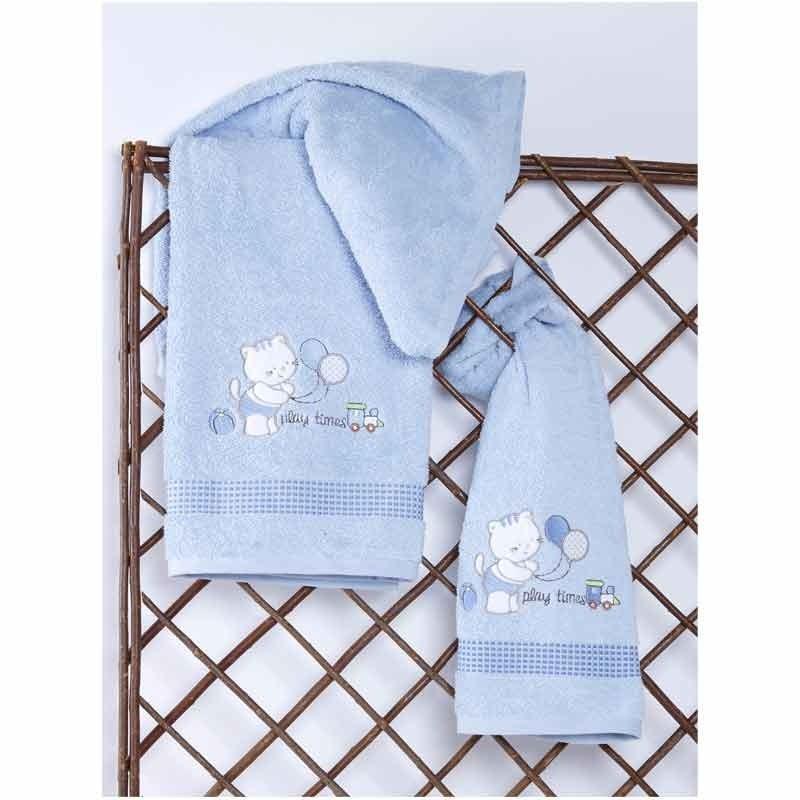 Σετ Πετσέτες Βρεφικές Sb Home Kitten Blue 05.00097