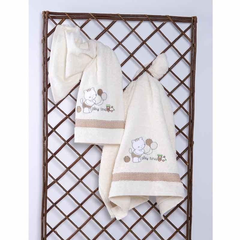 Σετ Πετσέτες Βρεφικές Sb Home Kitten Cream 05.00098