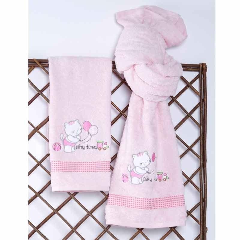 Σετ Πετσέτες Βρεφικές Sb Home Kitten Pink 05.00096