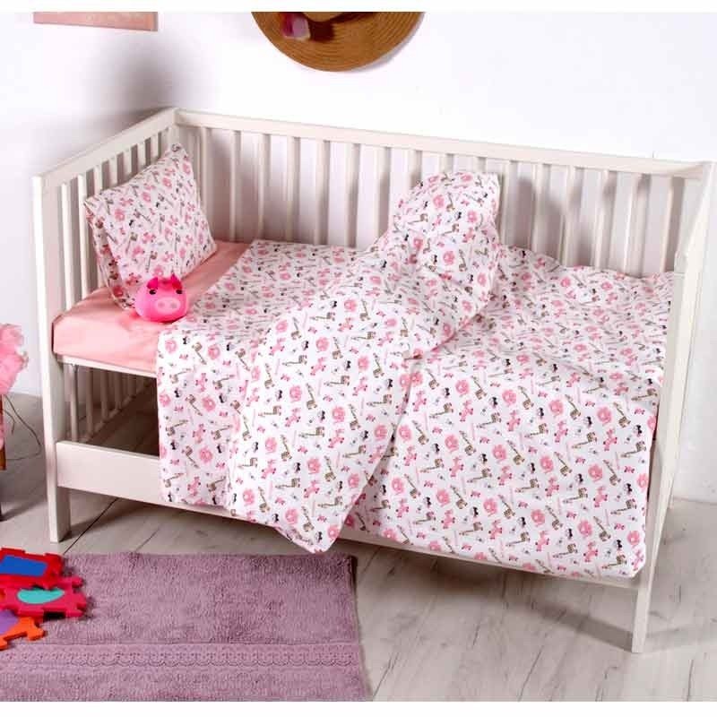 Σετ Σεντόνια Κούνιας Βρεφικά Sb Home Melva Pink 05.00136