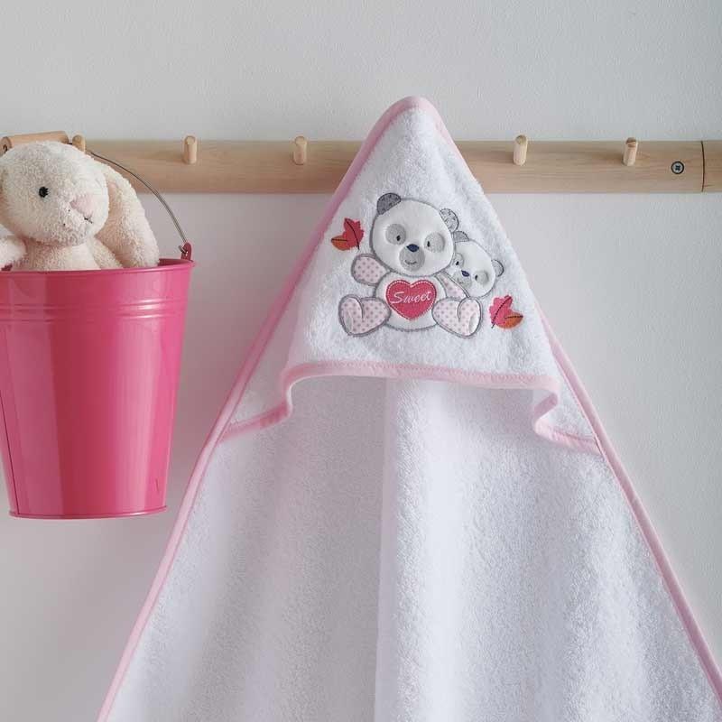 Κάπα Μπουρνουζάκι Βρεφικό Sb Home Panda Pink 05.00222