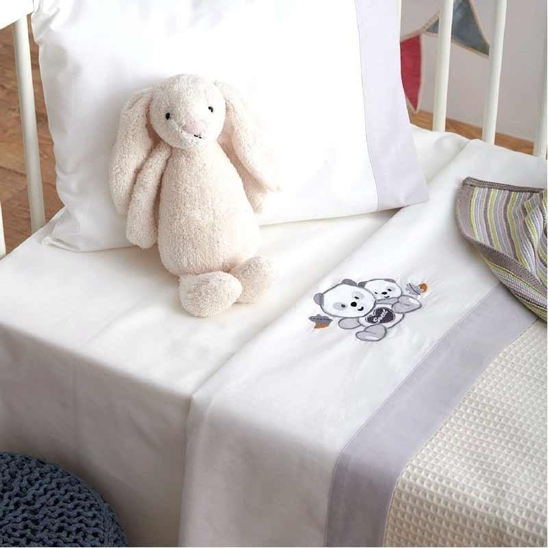 Σετ Σεντόνια Κούνιας Βρεφικά Sb Home Panda Grey 05.00239
