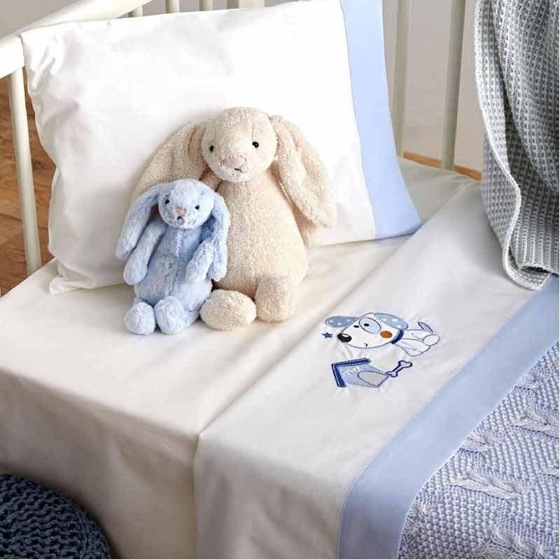 Σετ Σεντόνια Κούνιας Βρεφικά Sb Home Puppy Blue 05.00243