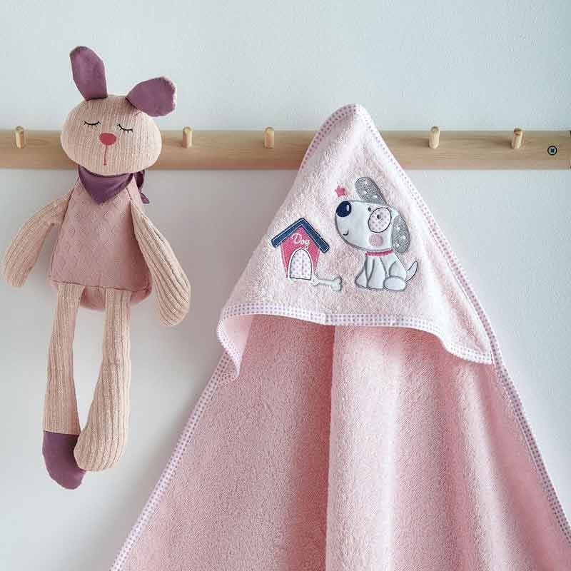 Κάπα Μπουρνουζάκι Βρεφικό Sb Home Puppy Pink 05.00227