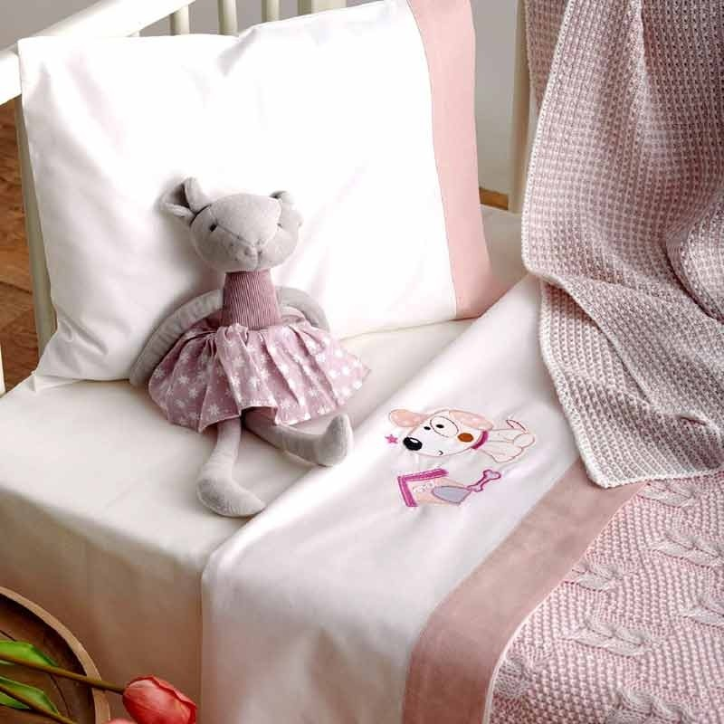 Σετ Σεντόνια Κούνιας Βρεφικά Sb Home Puppy Pink 05.00244