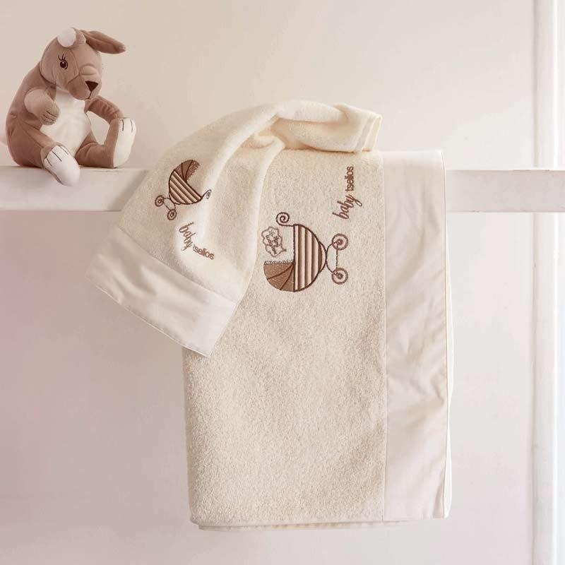 Σετ πετσέτες βρεφικές 2τμχ Makis Tselios home Pure