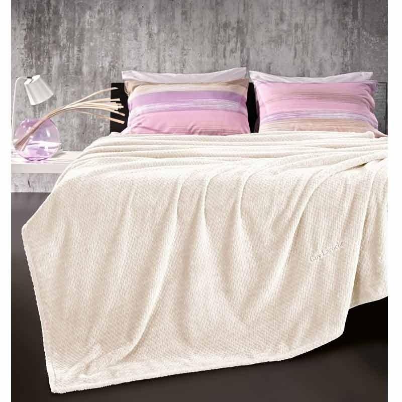 Κουβέρτα Μονή Guy Laroche Ultra Soft Rombus Ecru 1113086118005