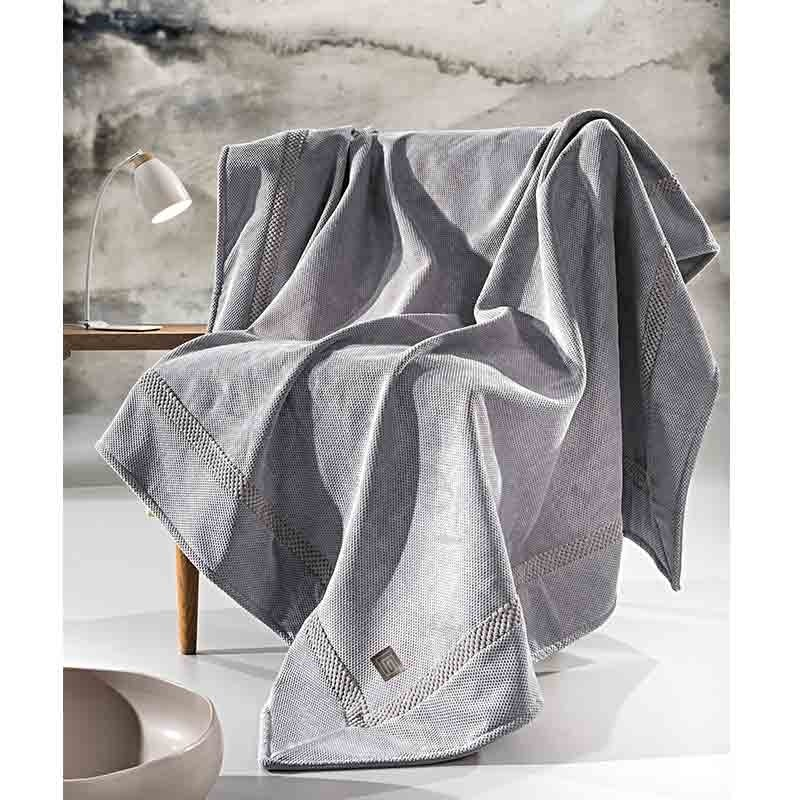 Ριχτάρι Διθέσιο Guy Laroche Microvelour Throws Rubicon Grey