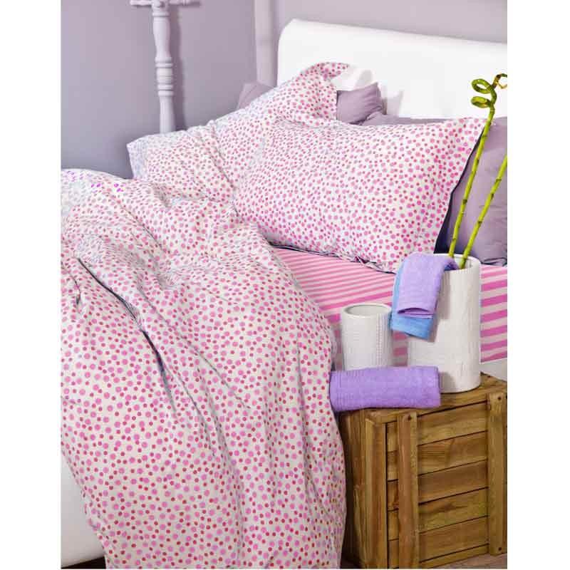 Σετ Κουβερλί Ημίδιπλο Palamaiki Bed Stories Spot Dot Pink