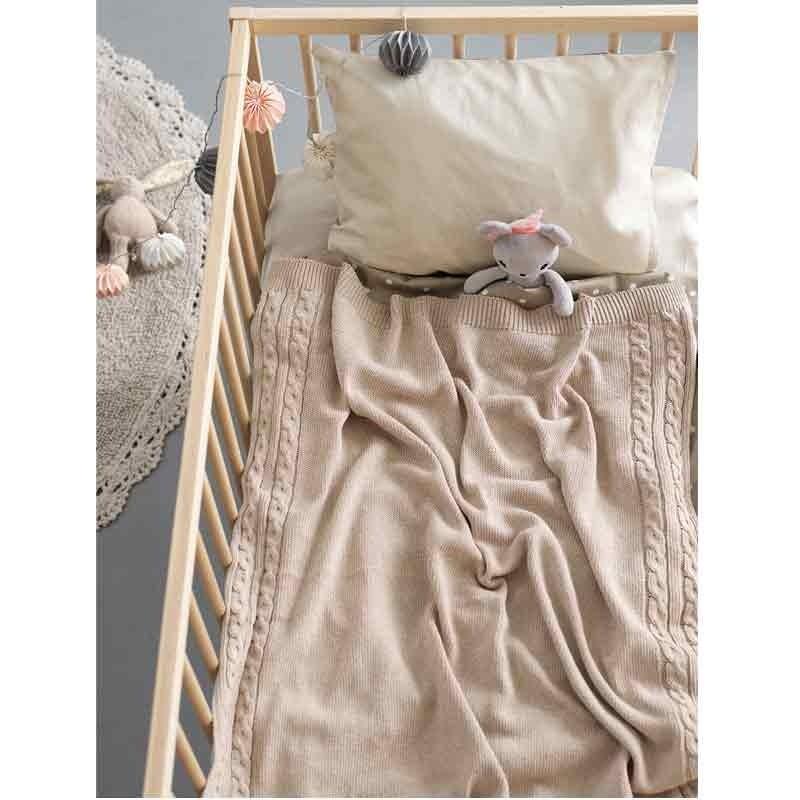 Κουβέρτα Κούνιας Πλεκτή Βρεφική Palamaiki HOME Tail Beige 5205857190552